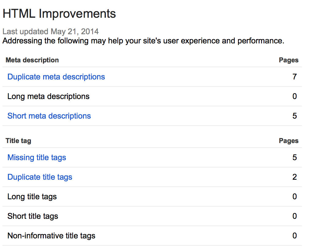 html improvements - webmaster tools example