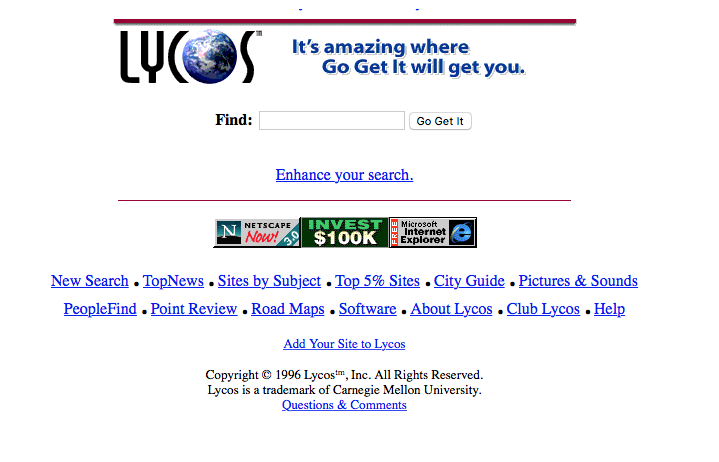 Lycos Search Engine - 1990's